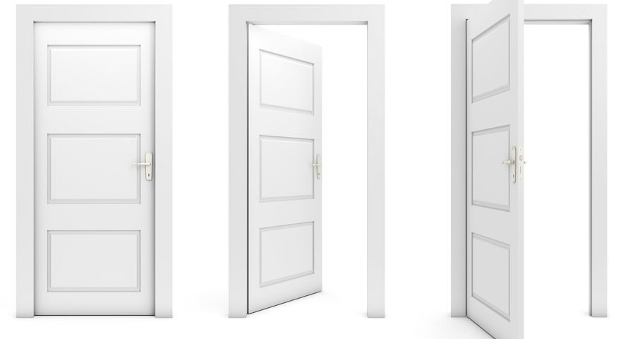 Open and closed doors isolated on white