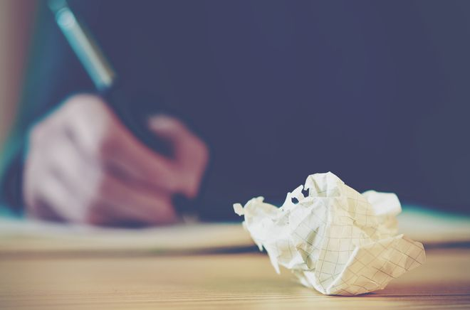 Paper ball during writing